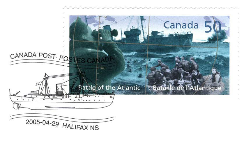 Canadian Stamp: Battle of the Atlantic Canadian stamp from 2005 Honoring the Battle of the Atlantic.